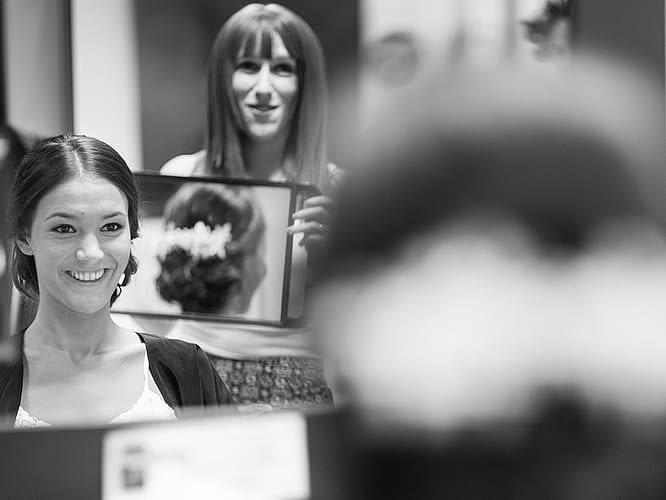 Peinado recogido de novia en la peluquería Roberto Ríos de Sada