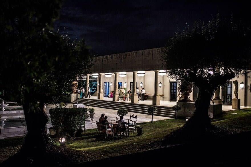 Pazo do Tambre Salón de Los Olivos vista nocturna