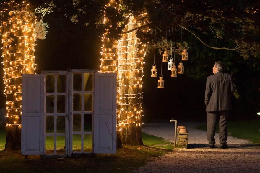 Decoración nocturna en una boda en la Finca Trece Pinos