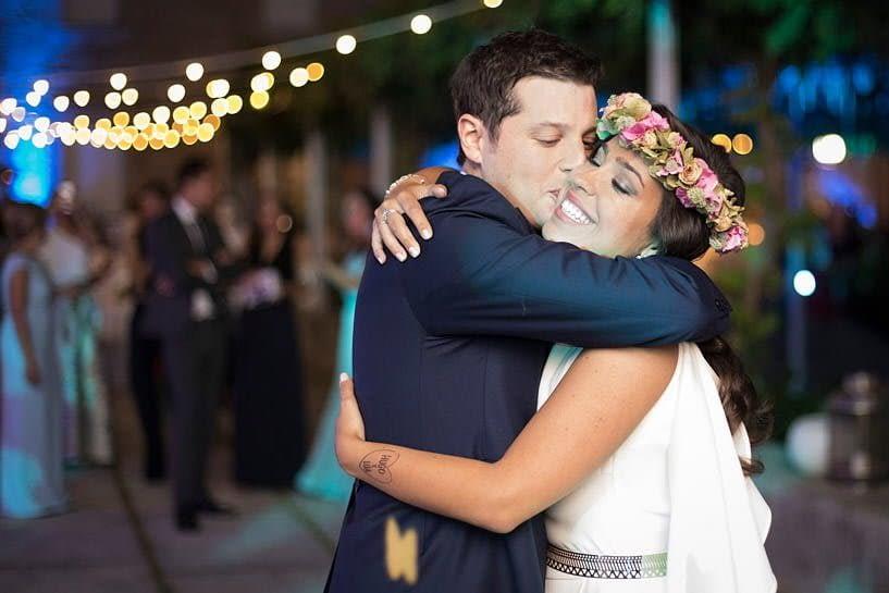 Novios en una boda en el Pazo Baión
