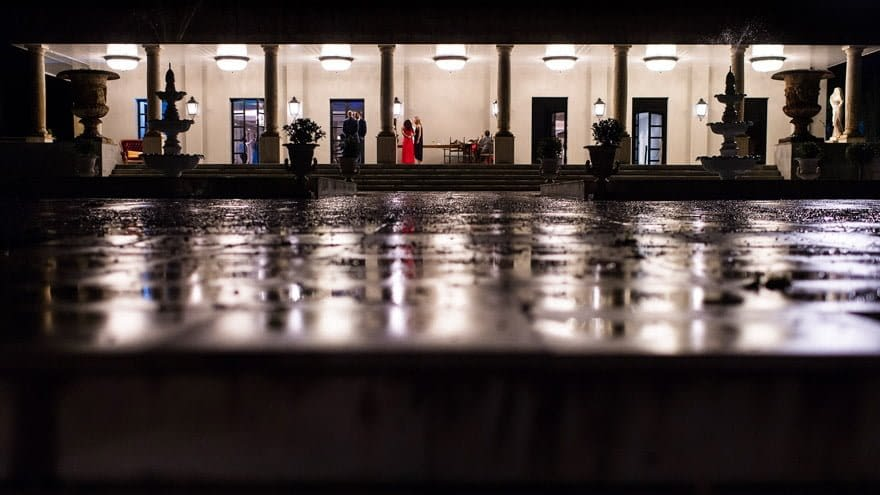 Boda en el Salón de los Olivos del Pazo do Tambre Panorámica Nocturna